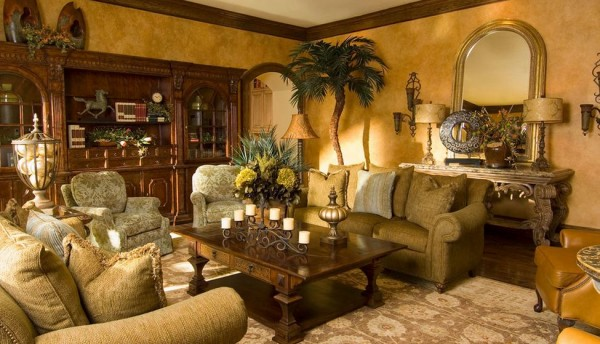 tuscan-living-room-with-faux-gold-walls